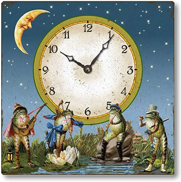 Fairy Freckles Studios Item C5030 Vintage Victorian Style Frogs Clock