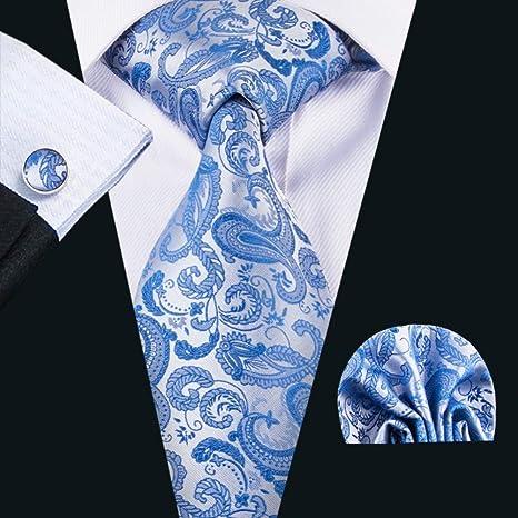 WOXHY Corbata de los Hombres Gb-1618 Conjunto de Corbata Azul de ...