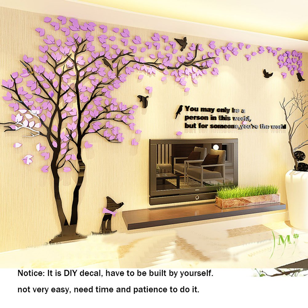 Amazon.com: 3D Wall Decals Trees DIY Wall Stickers Acrylic Tree Wall ...