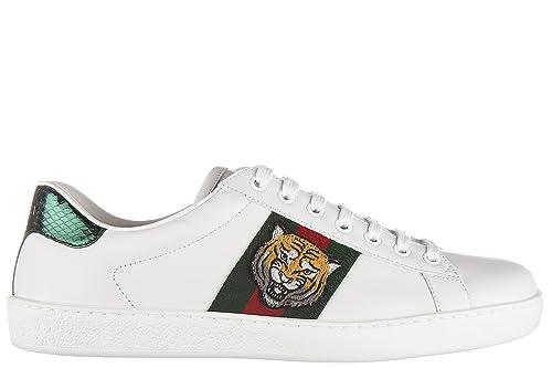 Gucci Scarpe Sneakers Uomo in Pelle Nuove Bianco  Amazon.it  Scarpe e borse dd0dc2153ac