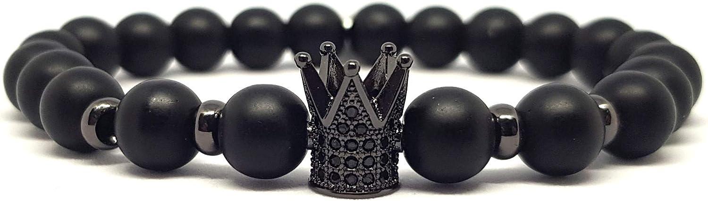 KARDINAL.WEIST Pulsera de Piedras Naturales de ónix con Cuentas de Corona, Joyas de Chakras para Hombres y Mujeres, Brazalete de Yoga
