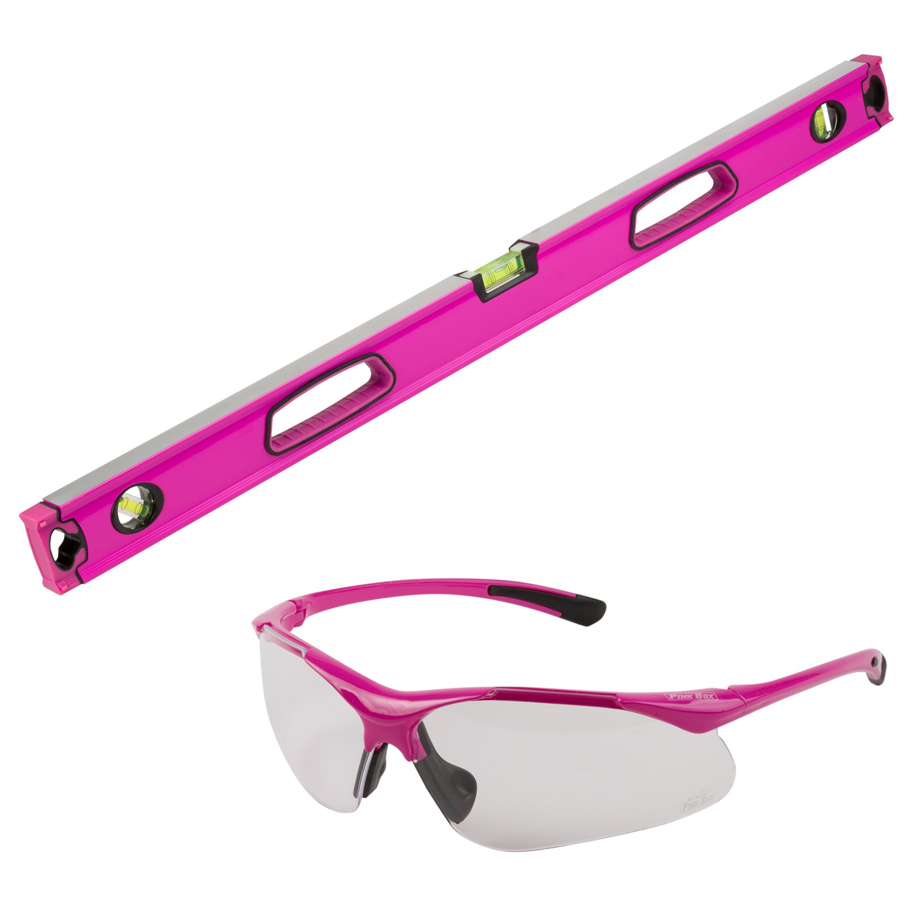 The Original Pink Box PBC2LEVGOG 36'' Aluminum Box Level and Anti Scratch Safety Glasses Bundle