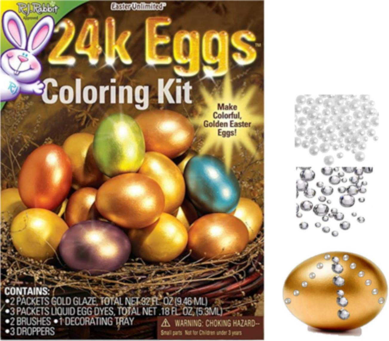 Golden Easter Egg Coloring Kit and Diamond and Pearl Rhinestones Stickers to Decorate GBBD