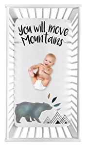 Sweet Jojo Designs Bear Mountain Boy Fitted Crib Sheet Baby or Toddler Bed Nursery Photo Op - Slate Blue and Black Watercolor You Will Move Mountains