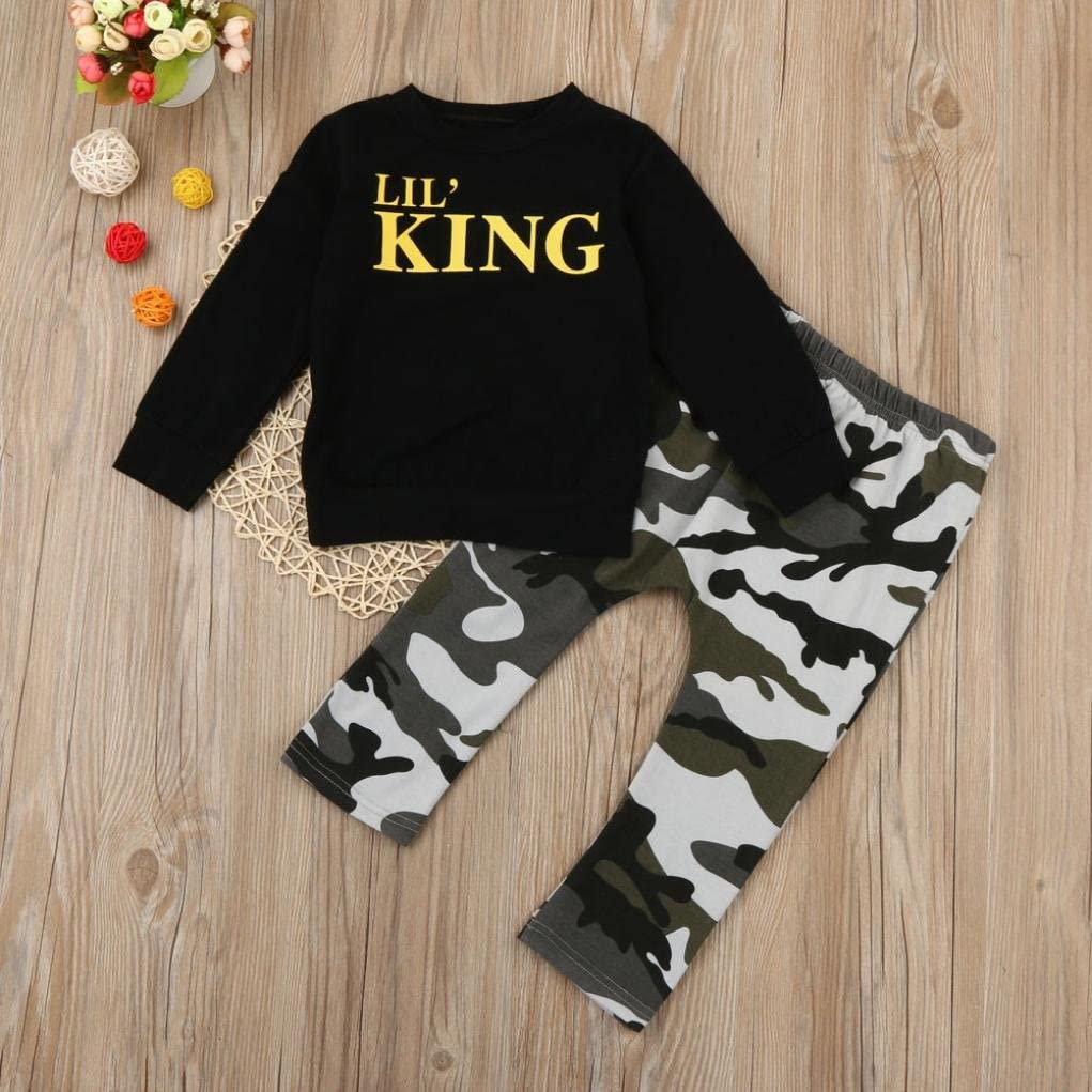 YANG-YI Fashion Autumn Toddler Kids Baby Boy Letter T Shirt Tops+Camouflage Pants Outfits Set HOT