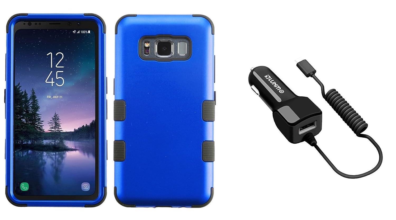 Samsung Galaxy s8アクティブ – Accessoryバンドル: Heavy Duty [ Militaryグレード認定] Ruggedケース – [ブラック]、2.1 A ( 2100 mAh出力) USB Type - C ( USB - C )車充電器( Extraポート、Atom布 SAM-G892-BLU TF/CCTYPC21-BK 0 B079M1SKBD ブルー/ブラック ブルー/ブラック