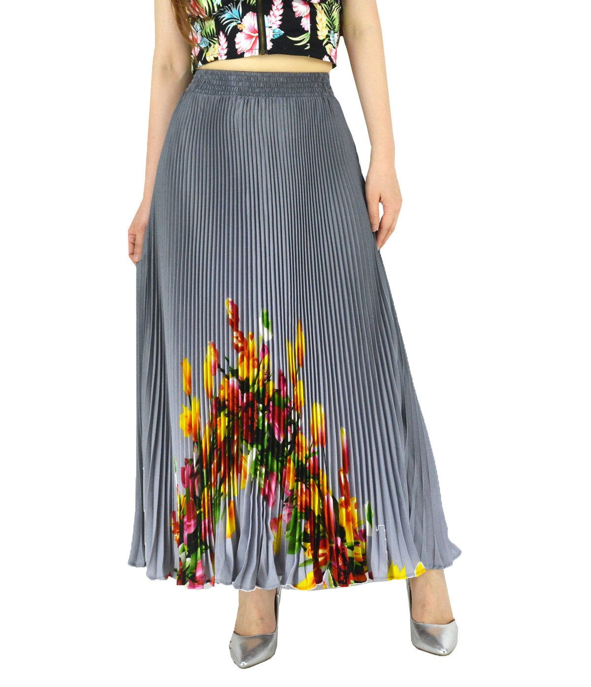 YSJ Womens Pleated Long Maxi Skirt - 35.4'' Chiffon Floral Vintage Bohemian Full Skirts (Grey 1702)