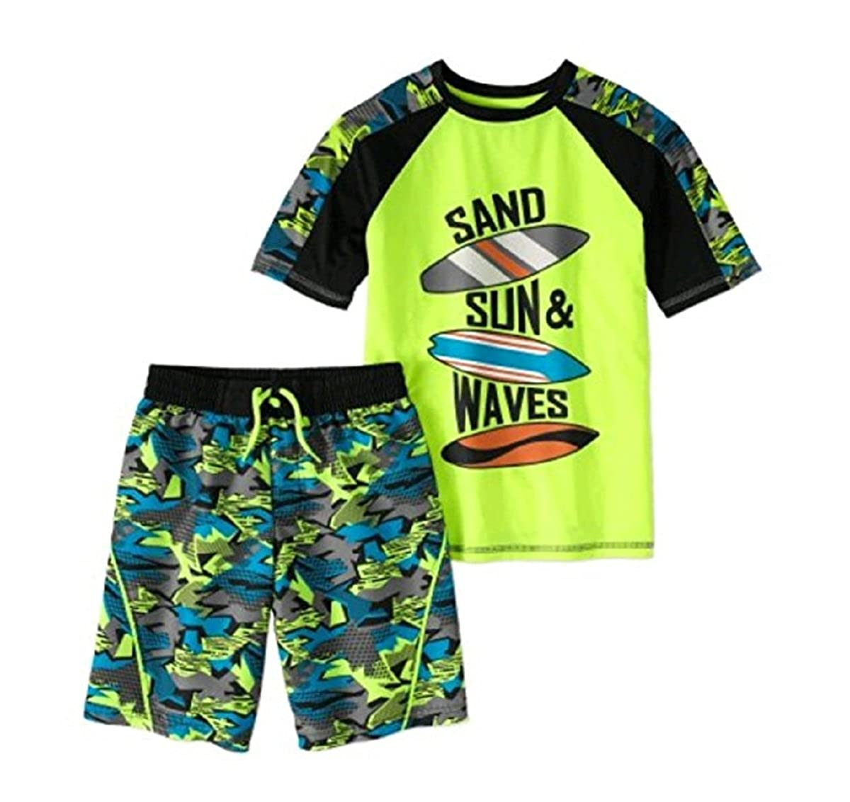 Wonder Nation Boy's 2 Piece Rashguard Swim Set (X-Large 14/16, Acid Yellow Surfboard)