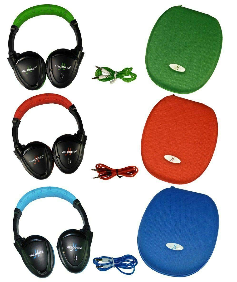 Wisconsin Auto Supply MDZHP-FF-RED(1) GRN(1) Blue(1)-(3) Green Wireless Headphone (2 Channel Fold Flat DVD Player with Case and 3.5 mm Auxiliary Cord), 3 Pack by Wisconsin Auto Supply