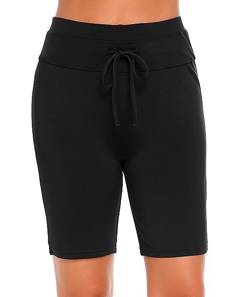 Ekouaer Women s Board Shorts High Waist Swim Shorts Beach Surf Swimwear  Shorts Black aa0c30d12