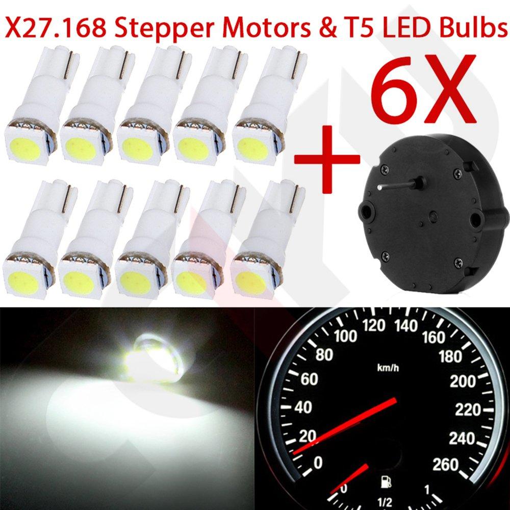 CCIYU 6) For 03 - 06 GMC ENVOY Cluster Stepper Motors X27.168 10) t5 White Light Bulbs