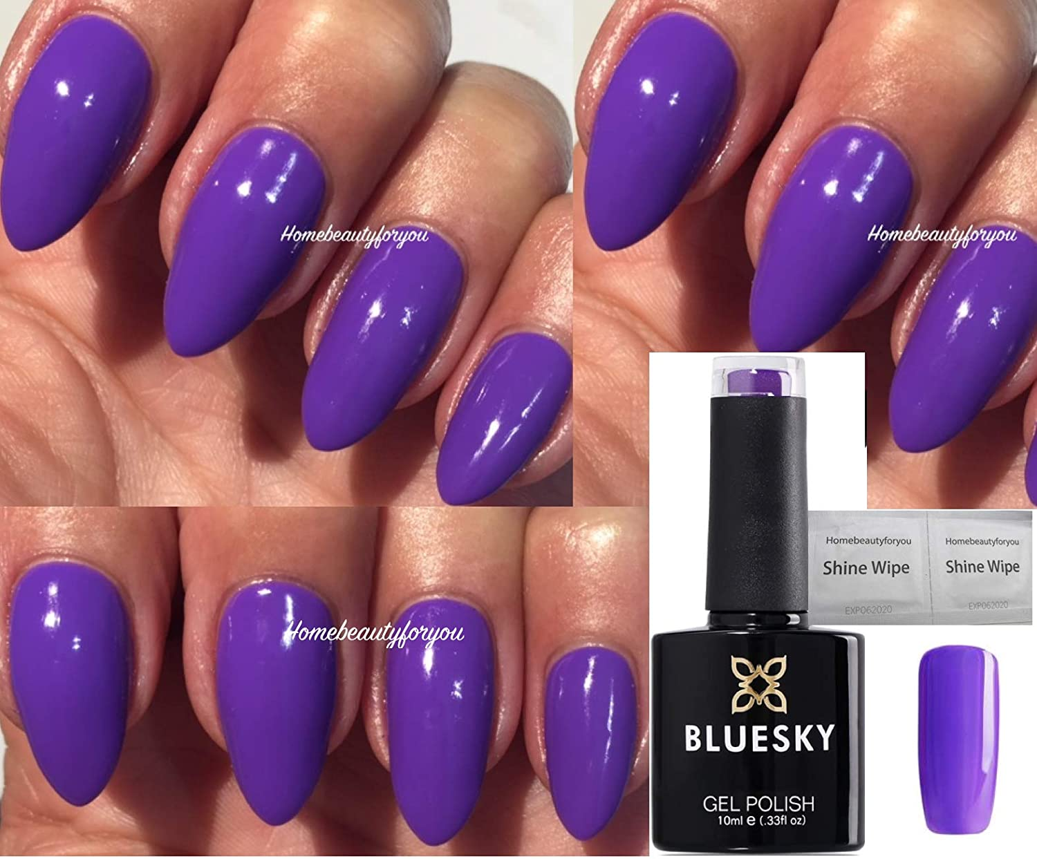 Bluesky 80641 Video Violet Bright Purple New Wave Nail Gel Polish UV LED Soak Off 10ml PLUS 2 Luvlinail Shine Wipes LTD