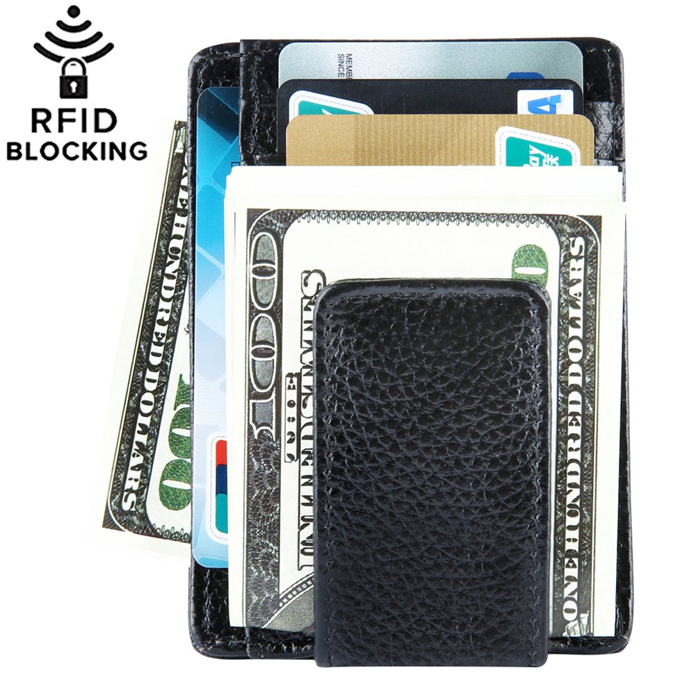 Money Clip, Front Pocket Wallet, Leather RFID Blocking Wallet Slim Minimalist Wallet for Men