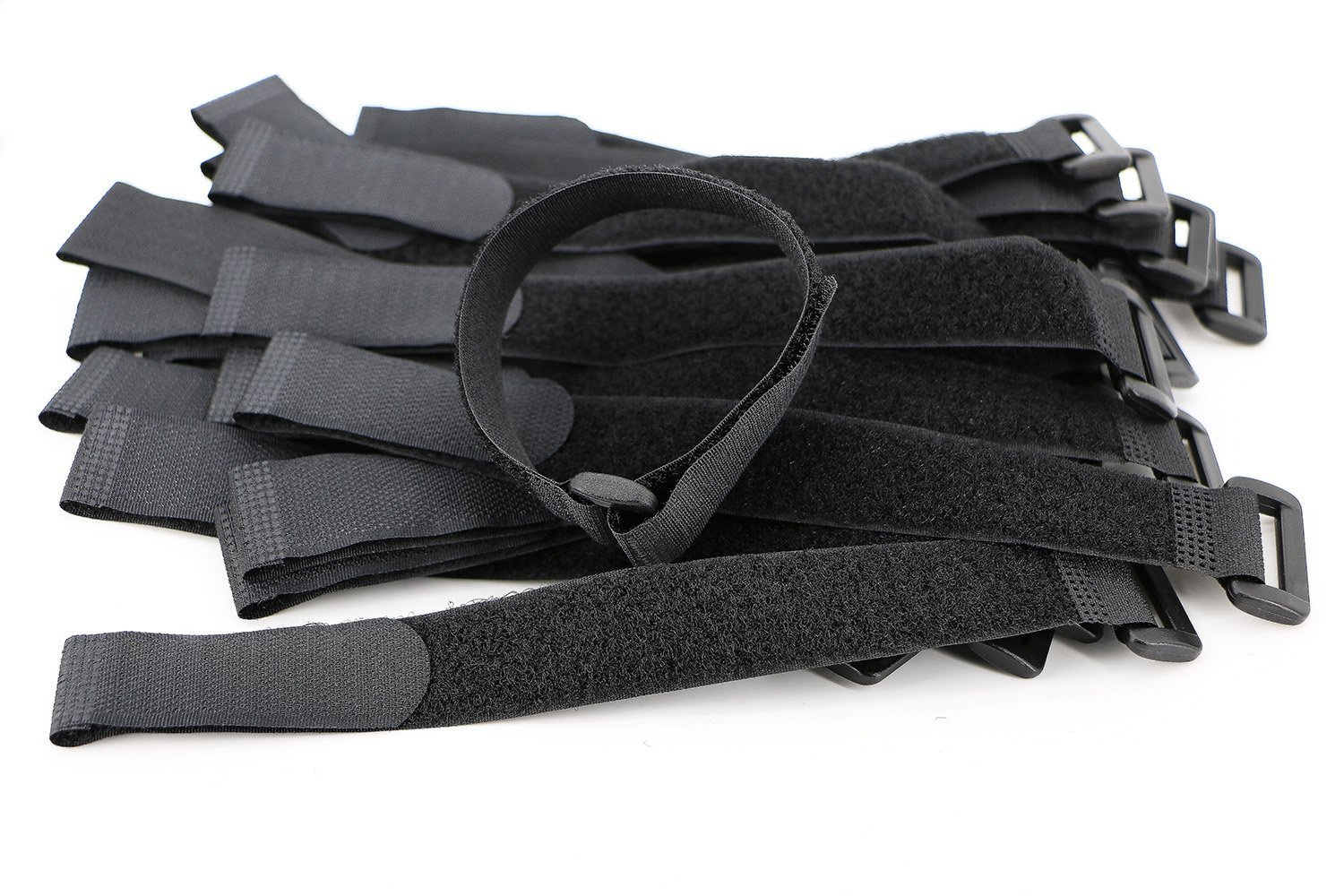 Elantek 50-PCS Hook and Loop Reusable Fastening Cable Tie Down Straps- 0.8'' x 8''-Black by Elantek (Image #1)