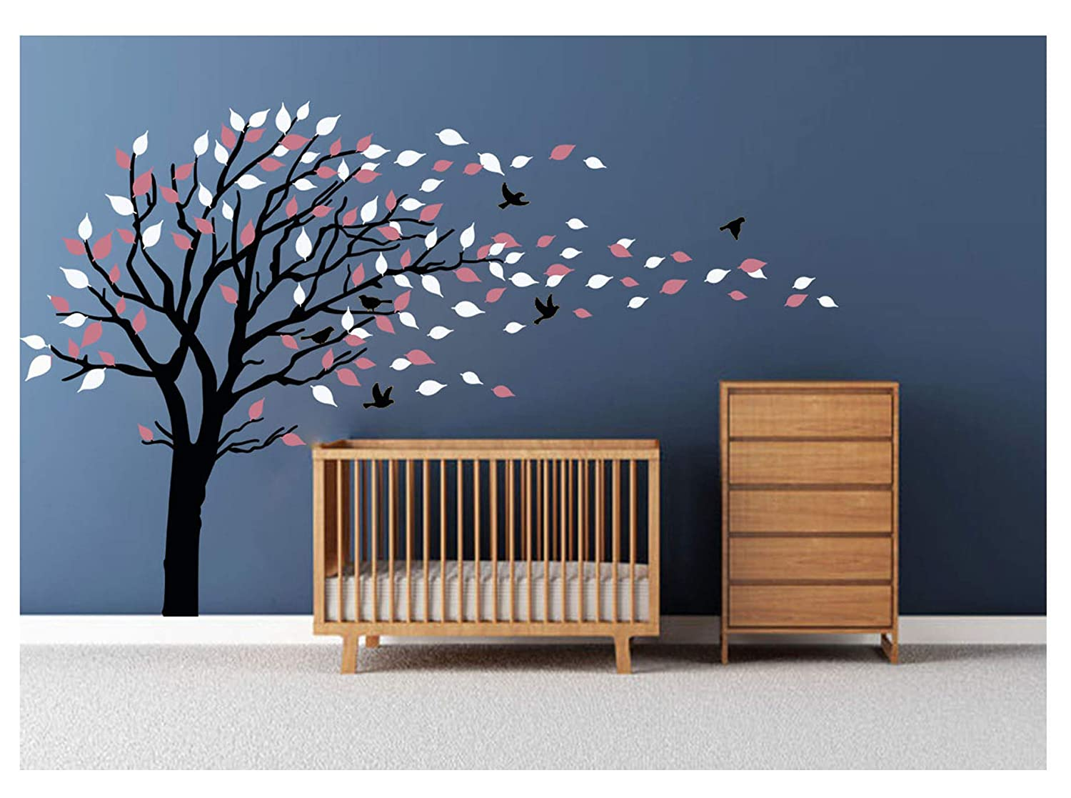 LUCKKYY Large Tree Wall Stickers Mural Tree Wall Decal Tree Blowing in The Wind Tree Wall Decals Wall Sticker Family Tree Family Wall Sticker Kids Rooms Nursery Decals(Black) 6158535