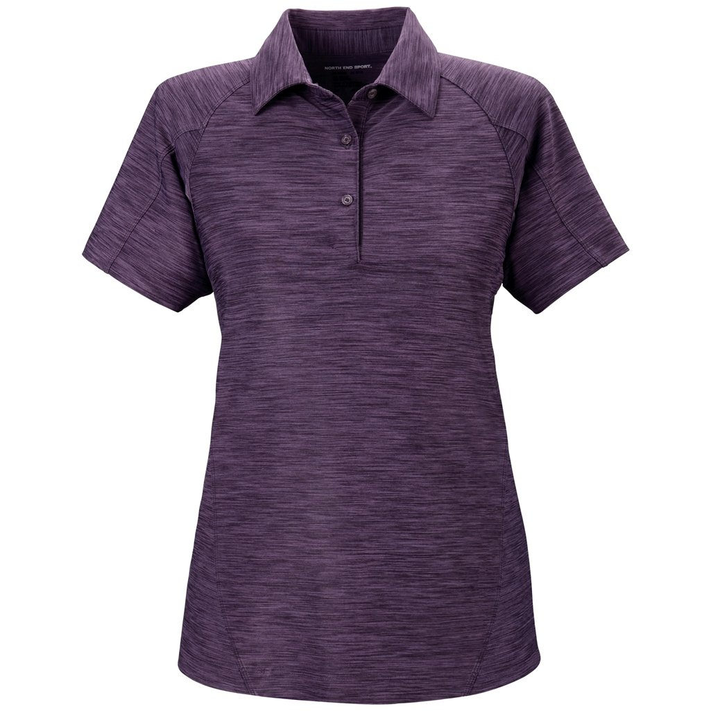 Ash City Ladies Barcode Stretch Polo (Small, Mulberry Purple) by Ash City Apparel