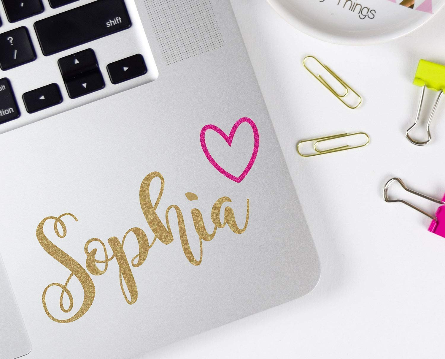 Custom Name Laptop Decal, Cursive Sticker with Heart, Your Choice of Size and Colors