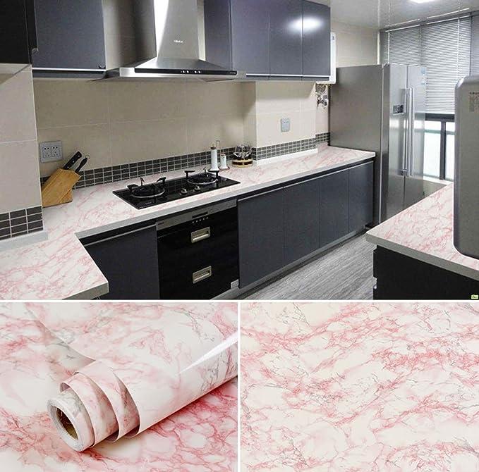 Selbstklebend Weiß und Rosa Marmor Getreide Kontakt Papier für Küche ...