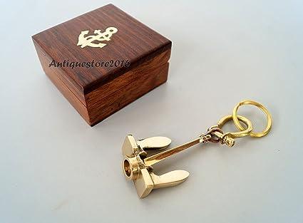 Llavero náutico de latón con ancla, con caja de madera ...