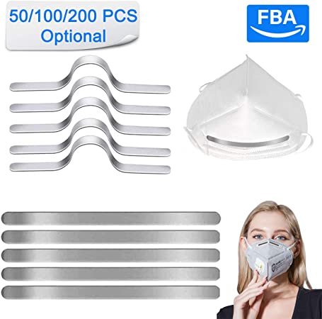 Metal Nose Strip for DIY Mask Aluminum Strips Nose Bridge Strips 90MM Metal Flat Nose Clips DIY Wire for Sewing Crafts 200 PCS-FBA