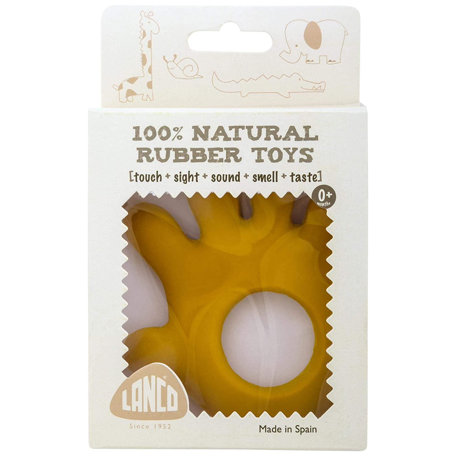 Natural Rubber Safe and Fun for Infants 6 months and Up KidSource 522 Eco-Friendly Baby Teething Toy Lanco Hand Teether No BPA