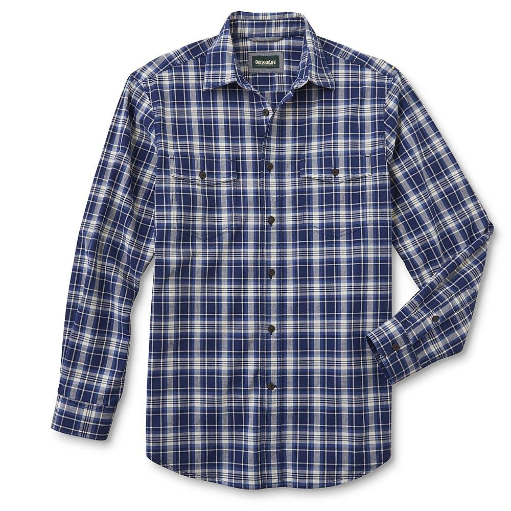 Navy Plaid Size Large Outdoor Life Mens Button-Front Shirt