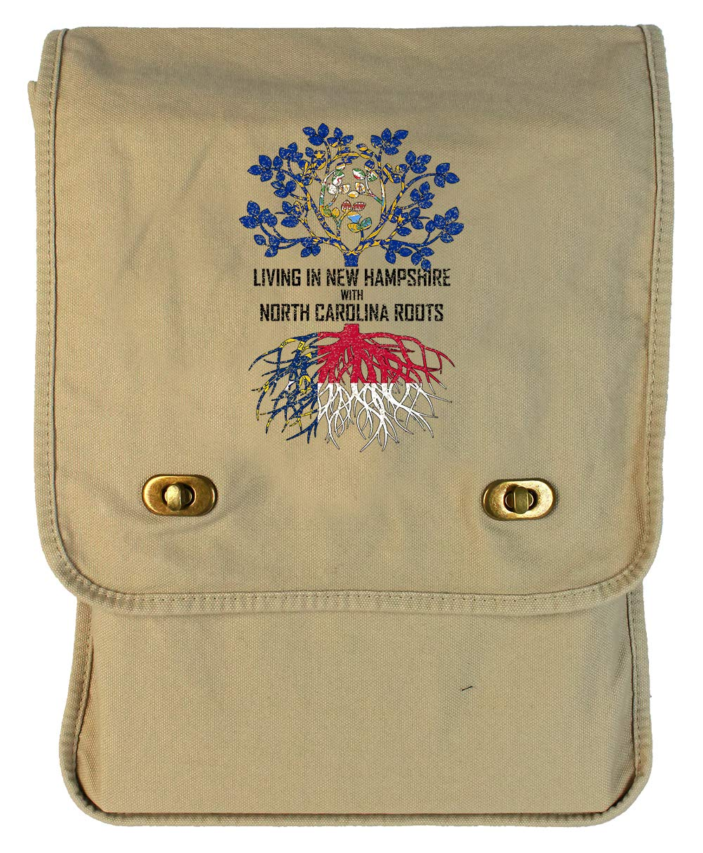 Tenacitee Living In New Hampshire with North Carolina Roots Grey Brushed Canvas Messenger Bag