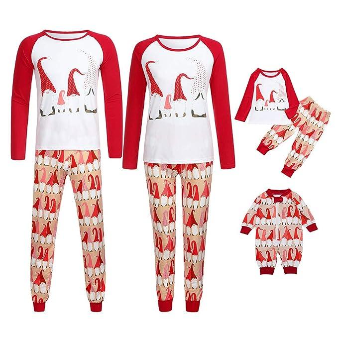 9748a61c0aca Mambain Pigiama Famiglia Natale Due Pezzi Pantaloni + Maglietta Stampe Tute  Bambino Donna Uomo Neonata Manica