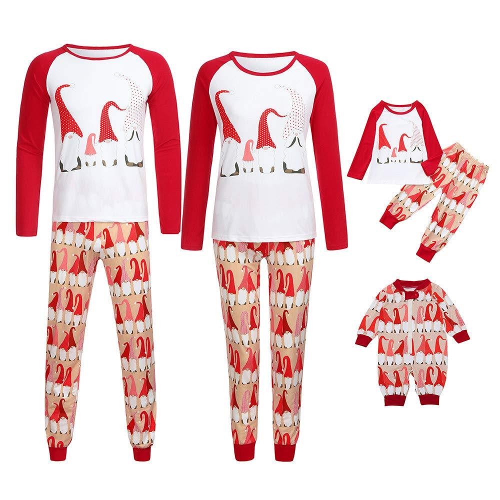 Gufenban Christmas Pajamas Family Women Mom Christmas Hat Tops Blouse Pants Family Pajamas Sleepwear Christmas Set(Women-Red,L)