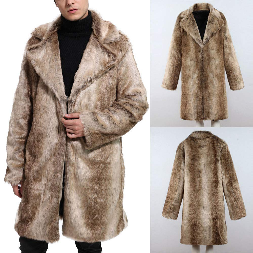 iLXHD Mens Faux Fur Coat Overcoat Thick Outerwear Winter Jacket