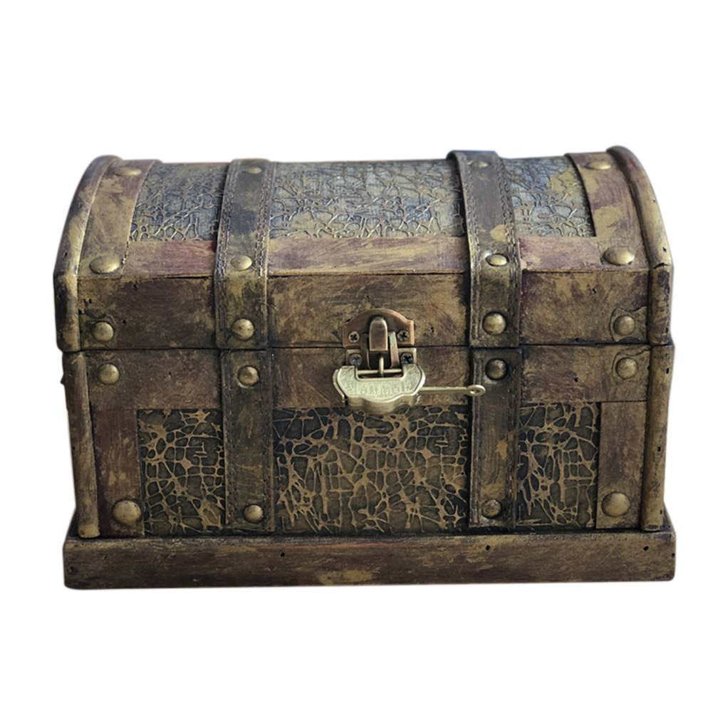 DinQ Giant Wooden Pirate Classical Treasure Storage Box with Lock (S)