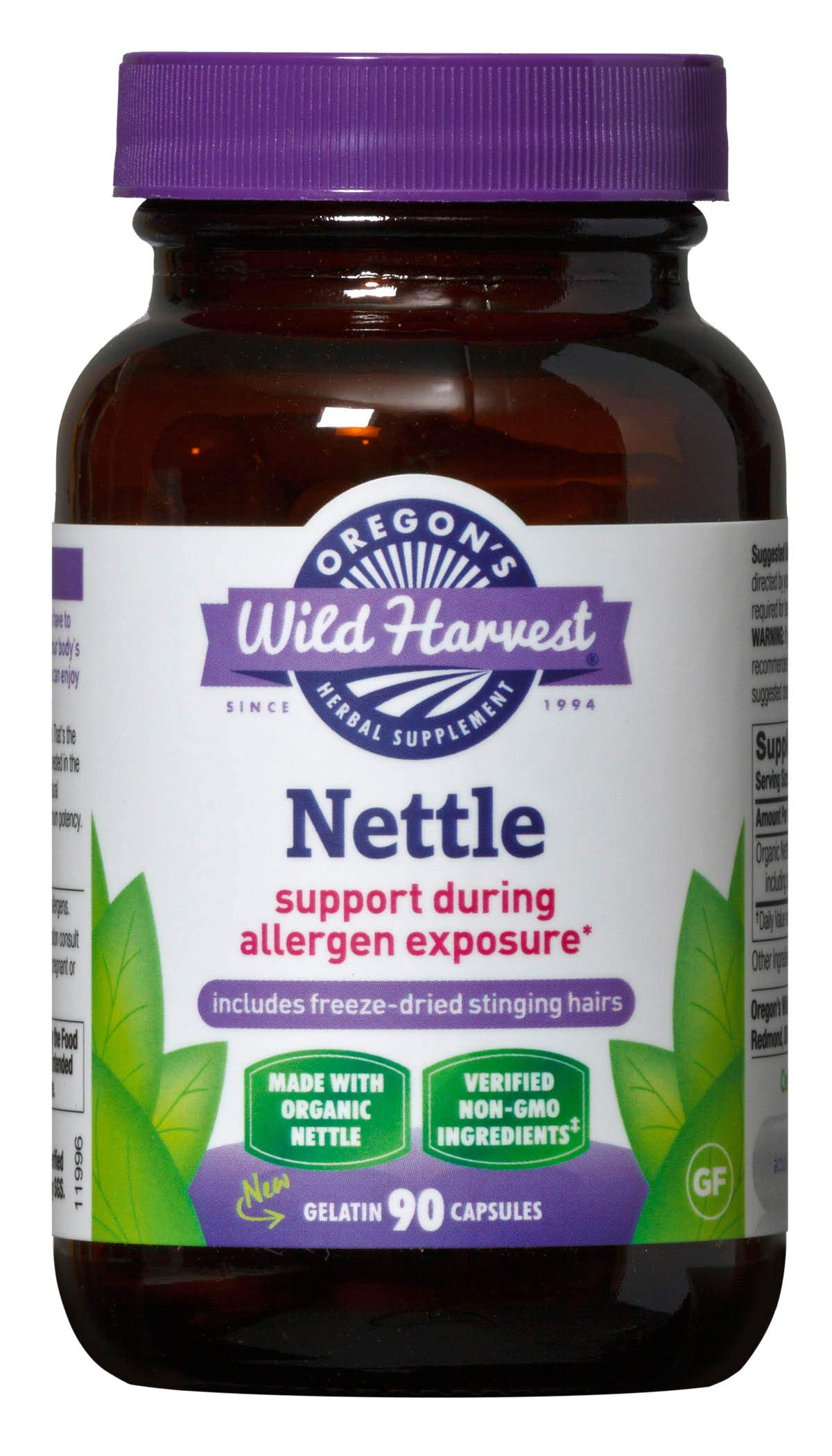 Oregon's Wild Harvest Nettle (F.D.) Capsules, Non-GMO  Herbal Supplements (Packaging May Vary), 90 Count