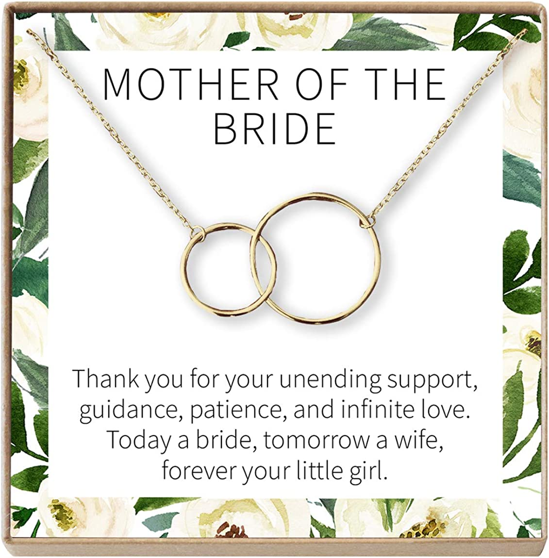 Amazon Com Dear Ava Mother Of The Bride Gift Necklace Parent Of Bride Jewelry 2 Interlocking Circles Gold Plated Brass Na Jewelry