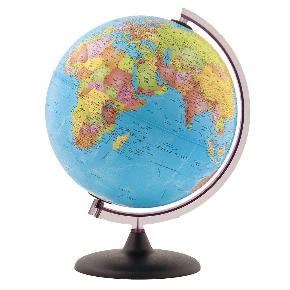 Little Adventurer Globe with Stand - 100's of UP-to-Date Major Political Named Places & Points of Interest - Easy & Fun to Assemble - Easy to Read Text & Colorful Country Identification - Desk Globe by Waypoint Geographic