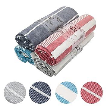 Decocasa Pack 4 Toallas Doble FAZ para Playa Piscina Pareo 100% Algodón - Gris Claro, Gris Oscuro, Azul, Rojo (Diseño 1): Amazon.es: Hogar