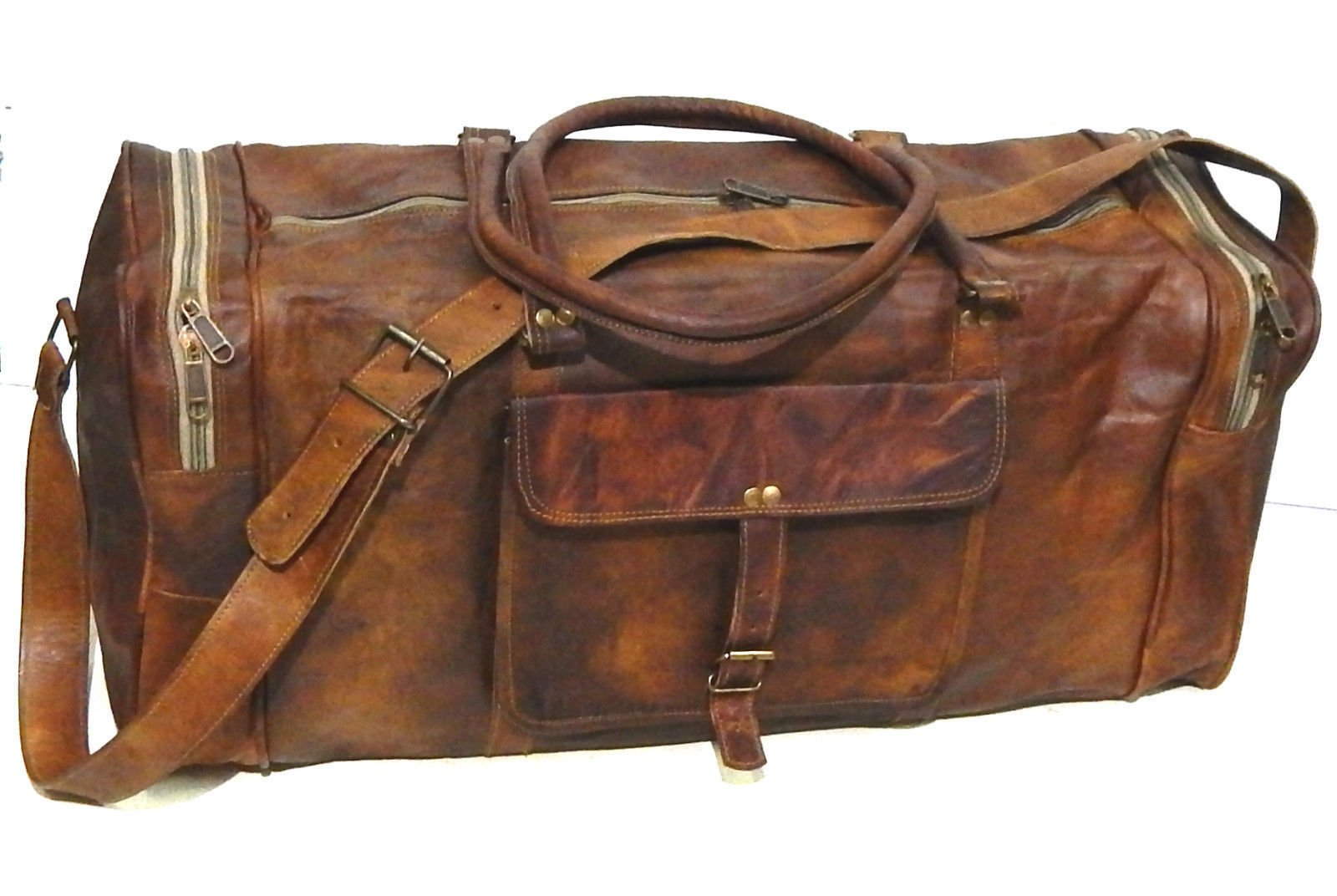 Firu-Handmade 24'' Vintage Style Leather Brown Duffel Gym Sports Luggage Bag Handmade by Firu-Handmade (Image #1)