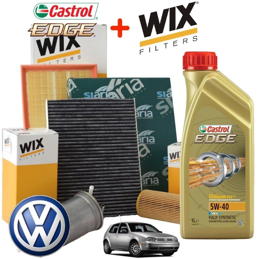 Tecneco Kit Huile moteur castrol eDGE 5 W40 5 l + 4 filtres wix (WL7008, WF8046, WA6333, V3227)