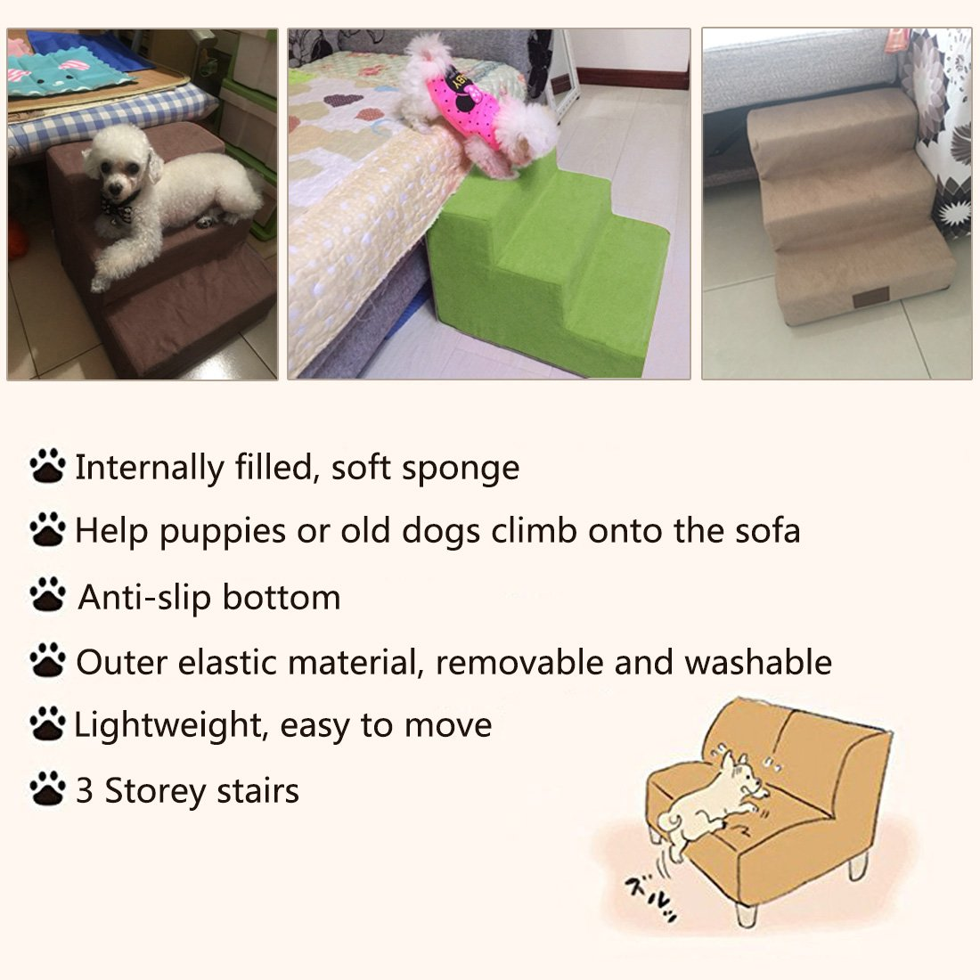 YUENA Care 3-Step Pet Stairs Ramp Breathable Washable Cover Dog Cat Puppy Activity Ladder Supplies Grey