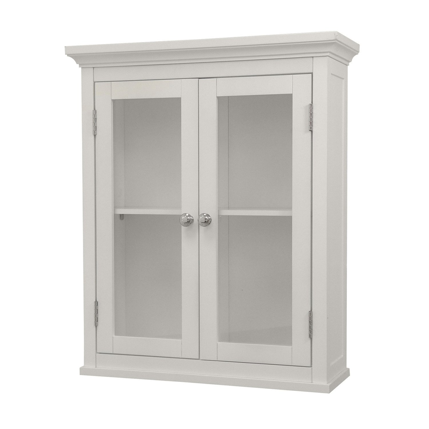 Elegant Home Fashions Madison Collection Shelved Wall Cabinet with Glass-Paneled Doors, White by Elegant Home Fashions