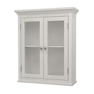 Elegant Home Fashions Madison Collection Shelved Wall Cabinet with Glass-Paneled Doors, White