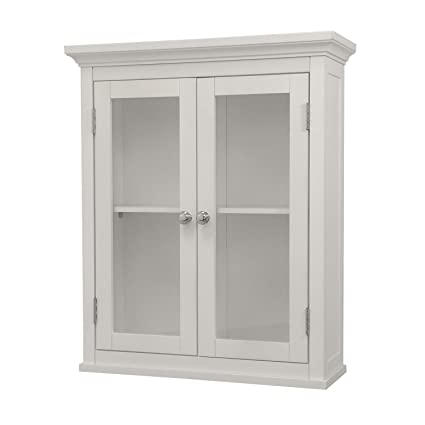 Elegant Home Fashions Madison Collection Shelved Wall Cabinet With  Glass Paneled Doors, White