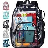 Clear Backpack, Heavy Duty Through Bookbag for Women and Men, 16' Transparent Large Backpacks - Black