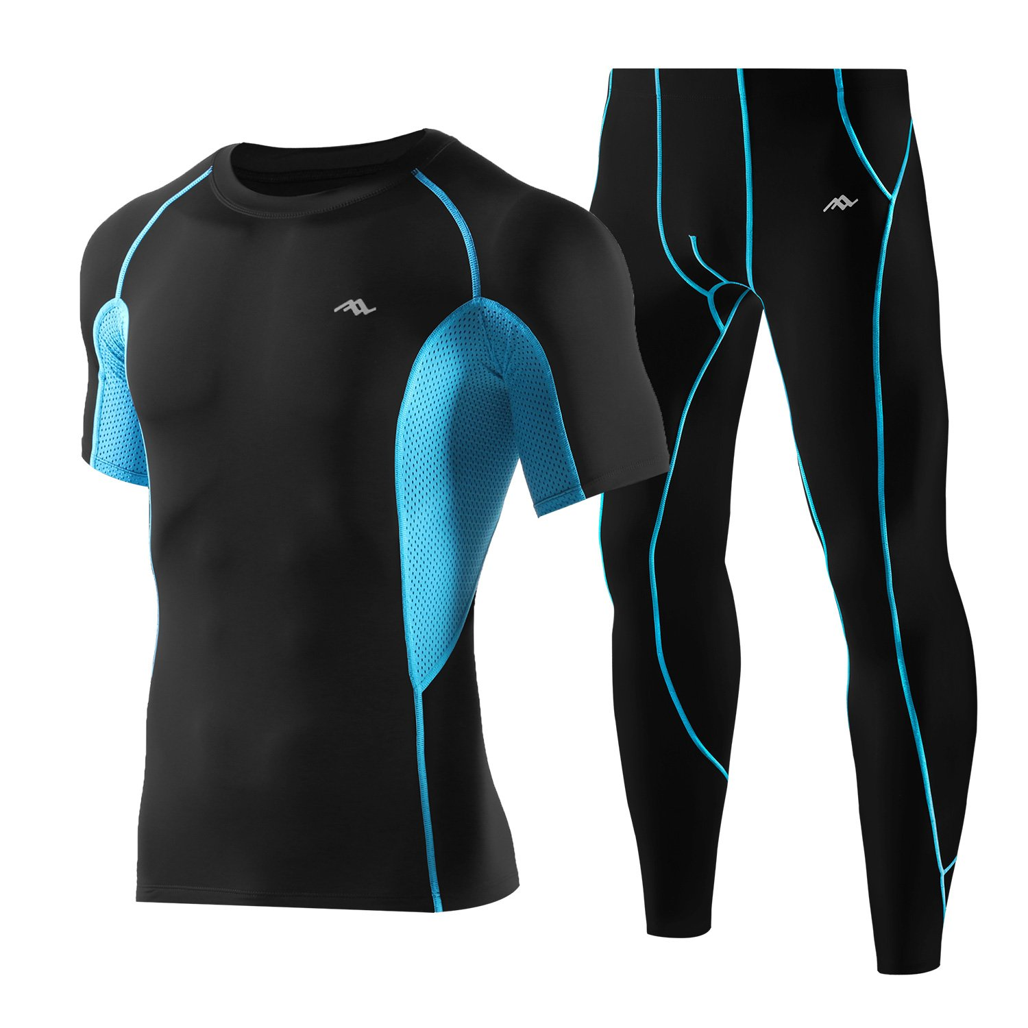 Men's Compression Fitness Sets Quick Dry Short Sleeve Pants Tight Baselayer 2 Pieces Jomago