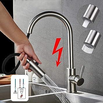 WOOHSE Robinet de cuisine /à basse pression avec 3 tuyaux Noir