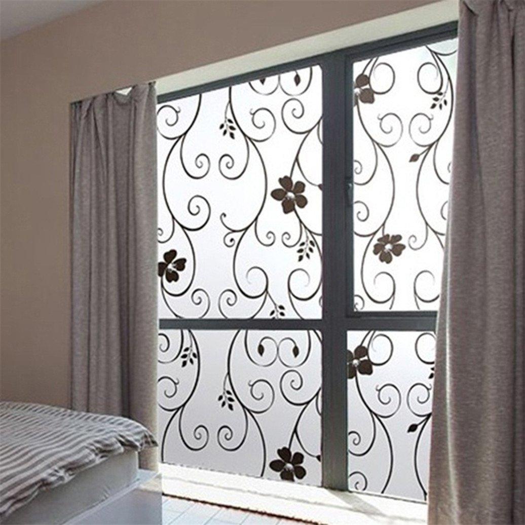 Bodhi2000 - Sticker occultant pour vitre et fenêtre à motifs floraux 45x100cm, PVC, blanc, Taille unique TRTAZ11A