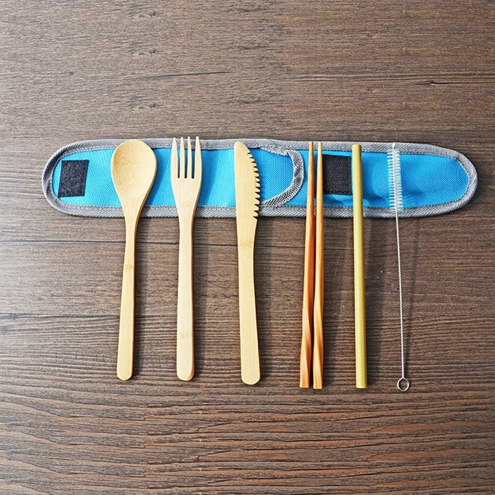 BESTonZON Set de Cubiertos port/átiles de 7 Piezas Juego de vajilla de bamb/ú ecol/ógico Juego de Cubiertos para Servir Comida al Aire Libre Azul