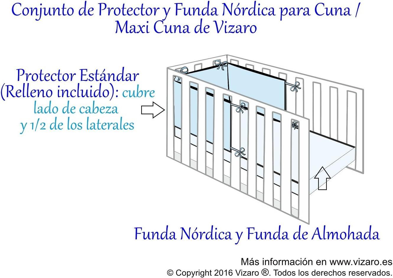 certificado OekoTex 3 Piezas 90x120cm 100/% ALGOD/ÓN PURO CONJUNTO de FUNDA N/ÓRDICA y PROTECTOR de CUNA 60x120 cm C Med Vizaro Estrellitas Banda Rosa hecho en UE ALTA CALIDAD