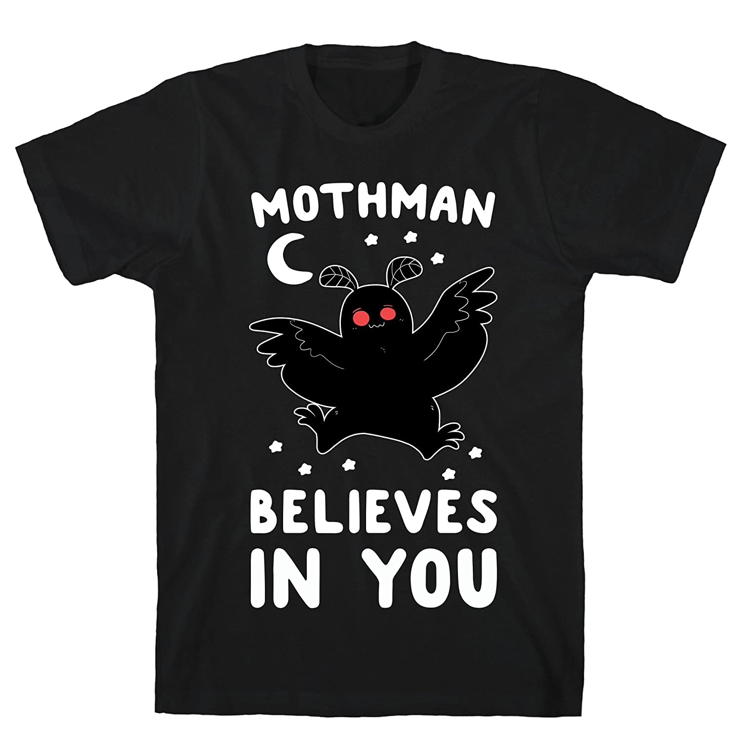 f6df1cd4bc Amazon.com: LookHUMAN Mothman Believes in You Black Men's Cotton Tee:  Clothing