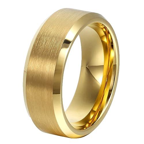 ajima 8 mm dorado carburo de tungsteno anillos boda banda anillo de promesa para los hombres