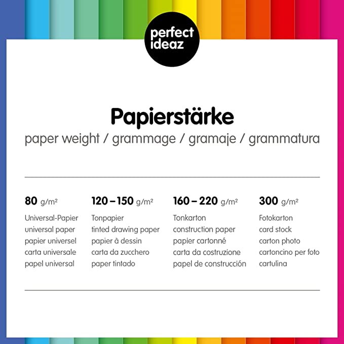 perfect ideaz 50 papel de color negro homogéneo en formato A3, con un resistente gramaje de 130 g: Amazon.es: Oficina y papelería